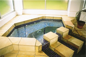 Enclosed tiled spa