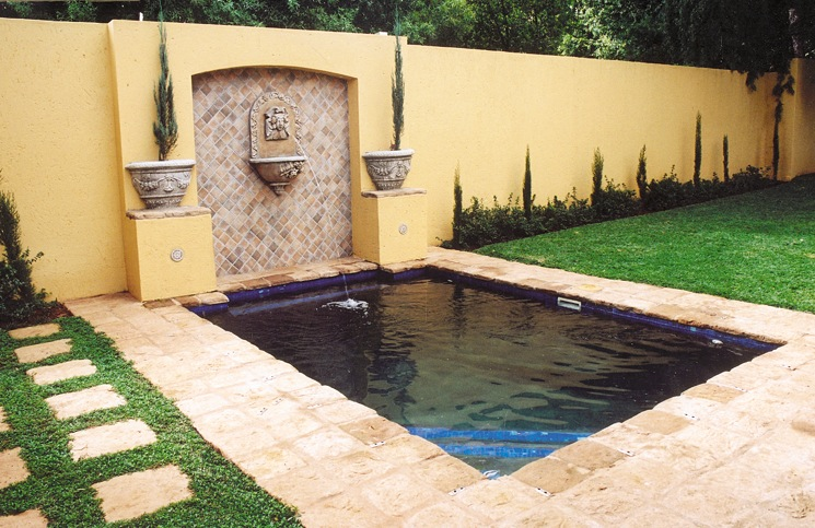 New pool with lion fountain