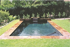 Swimming pool charcoal finish