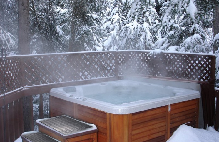 Hot spa in the snow