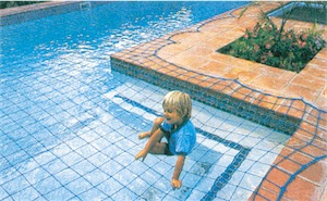 pool safety net with child