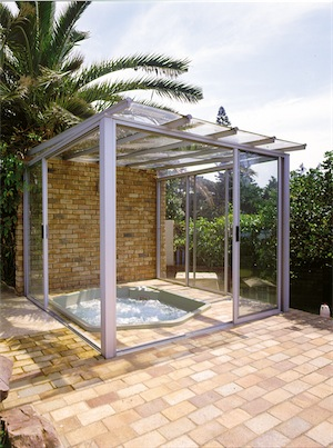 spa glass enclosed frame