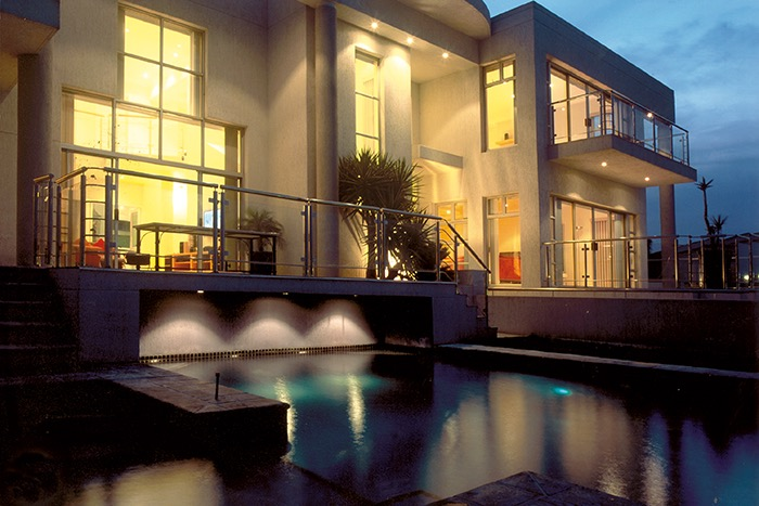 Beautiful night lit swimming pool