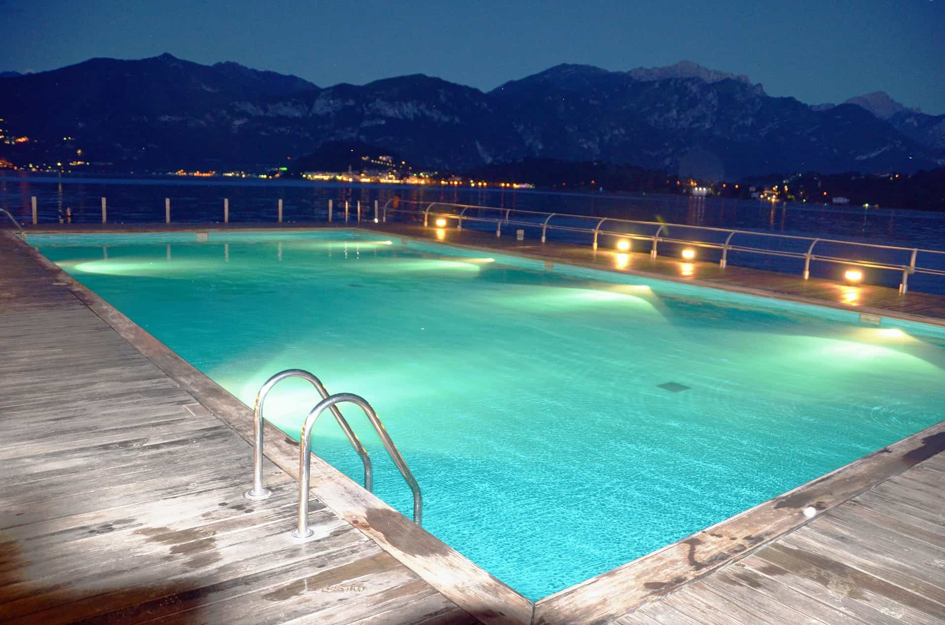 Pool with lights at night